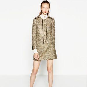 ZARA Gold Metallic Tweed Jacket Blazer  Raw Edge